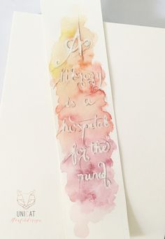 hand lettered bookmark with aquarell background Hand Lettering, Handwriting, Hand Drawn Type, Hand Type