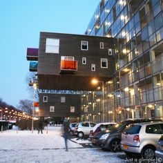 Wozoco Elderly Apartments, Amsterdam, Netherlands, MVRDV (1994-1997): The programme was to retain the open space between the buildings to allow light into interiors of it and surrounding buildings.  The solution was to build apartments out from the shell of the building.