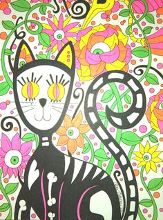 Day of the Dead Cat with Roses and Eyeball Flowers 9x12 Sharpie Drawing Sugar Skull Dia De Los Muertos Original Cat Art Colorful Gift Idea