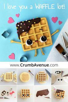 Cute Waffle - FREE Tutorial - fondant, gum paste, cake, topper, clay, inspiration, idea, love