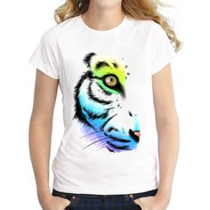 2016 Newest Fashion Women The eye of the tiger Printed T shirt Short Sleeve Casual Colorful Tiger T-Shirt Novelty Cool Tee