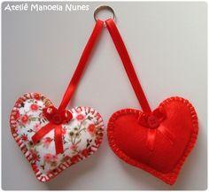 Chaveiros de Feltros Estampado e Liso, Bordados e em Formato de Coração