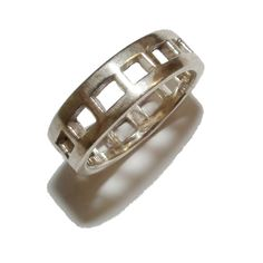 Stamped 925 Sterling Silver Patterned Band - UK Size: P 1/2