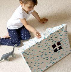 Mini tente en bois et coton bio avec motif oiseau bleu Deuz