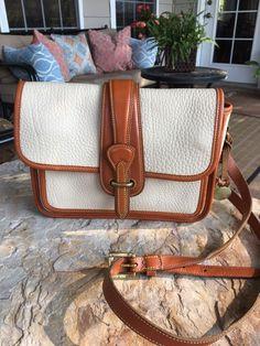 Vintage DOONEY & BOURKE AWL Bone & British Tan Shoulder Bag Purse Crossbody #DooneyBourke #ShoulderBag #Purse #Crossbody #dooney #vintage #leather #fashion #style