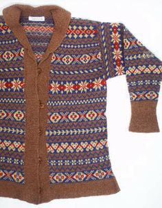 This is a typical 1930s style cardigan, with a wide collar and tunic shaped body.
