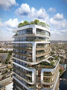 The 31-storey Canaletto residential tower, its curving exterior frames designed to create 'distinctive vertical neighbourhoods'.