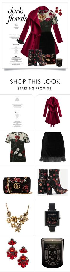 """""""Dark Floral"""" by immyowndoll ❤ liked on Polyvore featuring StyleNanda, M&Co, AlexaChung, Gucci, WithChic, Olivia Burton, Saks Fifth Avenue, Diptyque, topsets and darkfloral"""