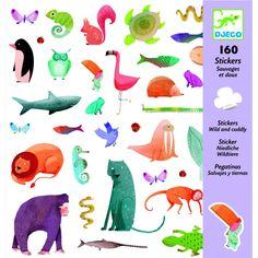 Buy Djeco: Design - Wild & Cuddly Stickers at Mighty Ape NZ. Pack of 160 themed stickers Suitable for ages yrs Box Dimensions: Small Gifts, Gifts For Kids, Special Kids, Love Stickers, Small Art, Toys Online, Watercolor Animals, Baby Kind, Frames
