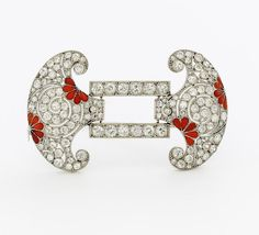 Art Deco. Diamond and Coral Set Brooch. Belgium, circa 1920