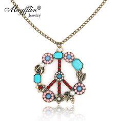 Wallmart.win Collares 2017 Fashion Long Chain Necklaces & Pendants for Women Men Jewelry Vintage Peace Symbol Necklace Collier Joyeria