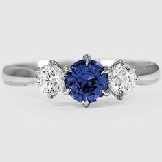 18K White Gold Sapphire Three Stone Catalina Diamond Ring /// Set with a 5.5mm Round Blue Sapphire #Brilliant Earth