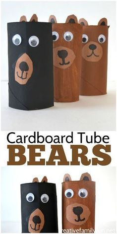 Create a zoo and fill it with this simple cardboard tube bear craft. It's a simple and fun kids craft that makes use of recycled materials. #recyclingforkids #artsandcraftsforkidswithpaper,