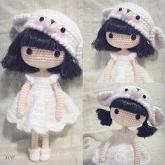 Crochet amigurumi girl doll in a pretty dress and bear hat. (Inspiration).