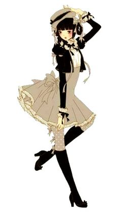 An Angelic Pretty illustration of a girl in cream, gray and black… by Imai Kira / 今井キラ. Via Tumblr. #gothic #lolita