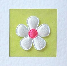 Birthday Card  white satin flower with coloured by CardArtSmart
