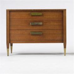 Gio Ponti; Walnut and Brass Dresser for Singer and Sons, c1950.