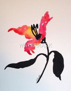 Abstract Flower / Lily , original watercolour (not print) on 240g paper approx: 7.7x6inch/19.5x15cm. FREE SHIPPING $20.00 USD