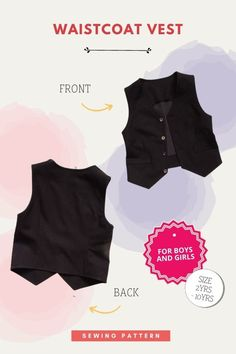 Waistcoat Vest sewing pattern (2-10 years) for boys and girls. This pdf pattern for a classic waistcoat vest is suitable for beginner sewers. It's absolutely perfect for everyday wear as well as any special occasion. As the designer says this waistcoat is a great way to inject a little personality into an outfit. It can be worn with t-shirts, or shirts, shorts, jeans or pants.