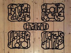 A set of laser cut decorative felt mats which together read out a traditional prayer of thanks before your family might enjoy a home cooked Sunday lunch together...or any other day...or meal ;-)  For what we are about to receive, may the Lord make us truly thankful  Designed using a unique manipulated joined up type face, and then laser cut from a high quality 3mm polyester felt, these are a completely new and very special set of placemats. There are for place setting mats, and one…