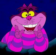 Alice in Wonderland - The Cheshire Cat (Sterling Holloway) is a mysterious pink and purple striped cat with a devious, mischievous personality. He has a permanent smile on his face and can disappear at will. The cat is a very odd being able to reshape his Walt Disney, Disney Magic, Disney Art, Disney Movies, Disney Pixar, Disney Characters, Disney Icons, Cheshire Cat Alice In Wonderland, Alice In Wonderland Characters