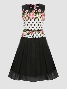 #BFCM #CyberMonday #Fashionmia - #Fashionmia Crew Neck Floral Printed Skater-dress - AdoreWe.com