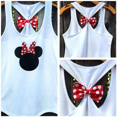 Show your Minnie love with this adorable, super sparkly Minnie Mouse Inspired bow back tank top! Our bow back tank tops have detachable bows for Disney World Outfits, Disney World Trip, Disney Vacation Outfits, Cute Disney Outfits, Bow Back Tank, Disney Tees, Disney Family Shirts, Disney Tank Tops, Diy Disneyland Shirts