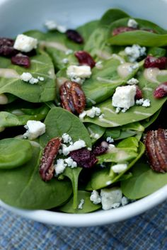 Spinach Salad with Blue Cheese, Pears and Candied Balsamic Pecans . | power hungry