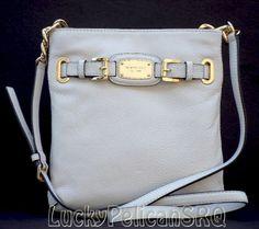 MICHAEL KORS Hamilton White Vanilla Large Crossbody Messenger Leatherg Bag  NWT