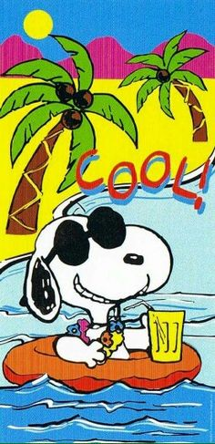 Cool. Snoopy floating o a ring with a drink.