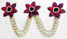Maroon and White Stone Studded Metal Jewelry for Hair (Stone and Metal)