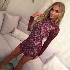 8455dda8d81 Never Say Never Burgundy Lace Long Sleeve Mini Dress - 8. Pink Boutique UK