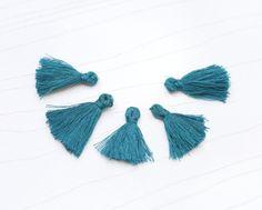Mini Tassels, 5 Pieces Tiny Pine Green Tassels - Cotton Tassels - PS023 by…