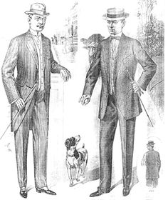 "Morning and everyday suits, circa 1910. During this time, it was yet again becoming customary to only wear the Morning Suit (left) during the morning, after which the Sack or ""Lounge Suit"" (right) would be worn. Note the ""Pork Pie"" hat and stylized jacket pockets on the fellow on the right."