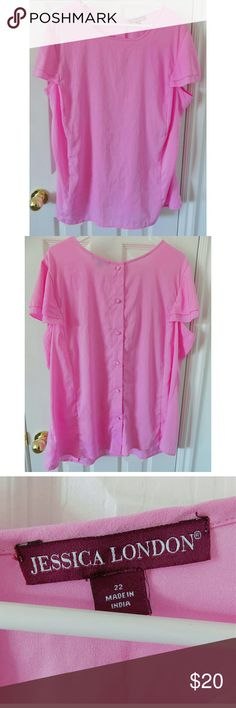 Flutter Sleeve Button Up Back Pink Blouse - Plus Pretty plus size blouse with buttons up the back! Tiny stain on the front but is hardly noticeable. Other than that it's in perfect condition! Jessica London Tops Blouses