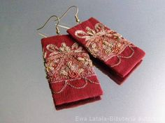 Items similar to SILK EARRINGS - silk embroidered gold metallic thread. Very decorative. on Etsy Textile Jewelry, Fabric Jewelry, Lace Earrings, Crochet Earrings, Metallic Thread, Embroidered Silk, Artsy Fartsy, Jewelery, Burgundy