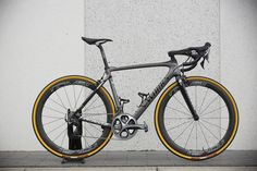 Peter Sagan's bike for Paris Roubaix is this custom painted Specialized S-Works Roubaix with a future shock, but the disc brakes removed