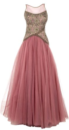 Pink embroidered bodice net gown available only at Pernia's Pop Up Shop.