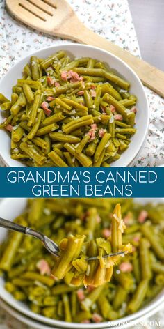 Grandma's Canned Green Beans - 4 Sons 'R' Us Canned Vegetable Recipes, Canned Green Bean Recipes, Vegetable Side Dishes, Side Dish Recipes, Healthy Dinner Recipes, Dishes Recipes, Delicious Recipes, Vegetarian Recipes, Recipies