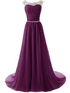 Purple Tulle Beaded Bridesmaid Evening Party Prom Ball Gown Dress