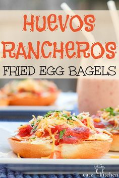 Looking for a simple and yet delicious meal? Then you'll love this one! It's messy, fresh-tasting, and playful. And terrific to serve your family - and others too! Huevos Rancheros Fried Egg Bagels ~ Club31Women