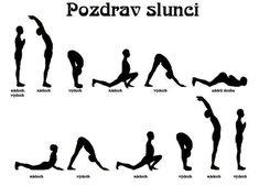 Namaste: Súrja namaskár (Pozdrav slunci) Pilates, Yoga Fitness, Health Fitness, Hand Reflexology, Gym Decor, Dance Tips, Learn Yoga, Gross Motor Skills, Yoga Routine