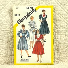 Dress, Simplicity 5846 Pattern for Women, Front Buttons, Yoke, Gathered Skirt, Fitted Bodice, Collar, 1982 Uncut, Size 12, 4-oz by DartingDogPatterns on Etsy