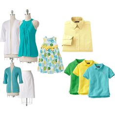 Family photo outfit ideas for a turquoise / white/ yellow color scheme hmmm Summer Family Portraits, Family Reunion Photos, Spring Family Pictures, Beach Portraits, Family Pics, Family Picture Colors, Family Picture Outfits, Picture Ideas, Photo Ideas