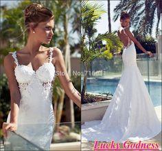 2014 vestido de novia Side Nuevo Popular de encaje spaghetti straps Perlas Sweetheart Backless Sexy Cut playa vestido nupcial Bling BRI-336
