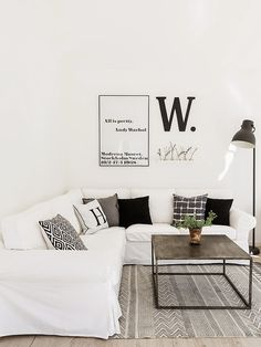 White and black living room. Made In Persbo Living Area, Living Room, Interior Styling, Interior Design, Space Interiors, Home Decor Inspiration, Modern Farmhouse, Interior And Exterior, Sweet Home
