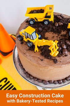 Make this easy construction birthday cake for boys and girls! This simple DIY construction cake uses bakery-tested recipes for a vanilla cake and chocolate icing, and uses construction cake toppers that kids can play with after the party. Try these construction cake ideas for a 3rd birthday, 2nd birthday, or 1st birthday party theme! #construction   #birthday #constructioncake #birthdaycake #cakes #cake #birthdayparty 1st Birthday Party Themes, Diy Birthday Cake, Construction Birthday Parties, 2nd Birthday, Birthday Gifts, Easy Icing Recipe, Buttercream Recipe, Diy Recipe, Happy Birthday Printable