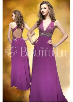 $145.99  Purple Halter And V-Neck Natural Floor-length Chiffon Prom Dress With Beading Top #fashion #purple #prom dress
