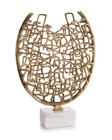 Limited Production Design: Artistic White Marble Mounted Brass Cubist Sculpture * 20 x 14 x 4 inches