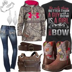 Click Each Item for More Info Girl With A Bow Shirt Under Armour Camo Hoodie Ariat Fatbaby Boots Miss Me Jeans Brown Concealment Purse Carhartt Jean Belt Leaf D Country Girl Outfits, Country Wear, Country Fashion, Country Shirts, Country Life, Country Girl Clothes, Farm Clothes, Country Quotes, Country Music